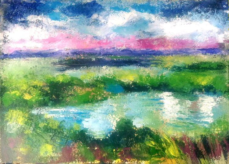Acrylmalerei, See, Grün, Feld, Landschaftsmalerei, Moorlandschaft