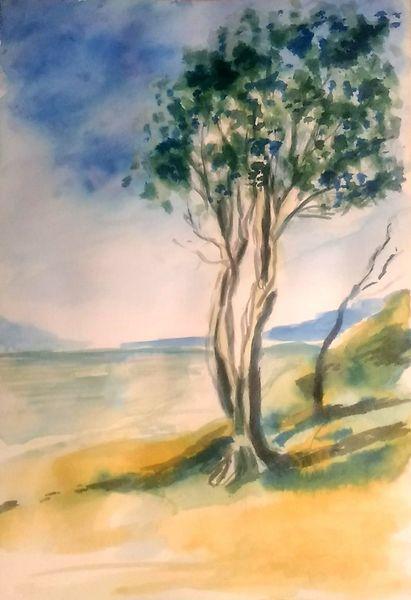 Landschaft, Tuschmalerei, Zeichnung, Blau, Berge, Tuschezeichnung