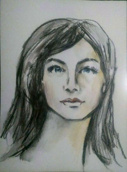 Zeichnung, Frauenportrait, Lange haare, Ausdruck, Buntstiftzeichnung, Porträtmalerei