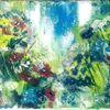 Blau, Sommer, Blumenwiese, Acrylmalerei