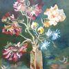 Blumen, Stillleben, Acrylmalerei, Pfingstrosen