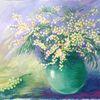 Stillleben, Vase, Blumen, Acrylmalerei