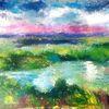 Landschaftsmalerei, Moorlandschaft, Bach, Rosa