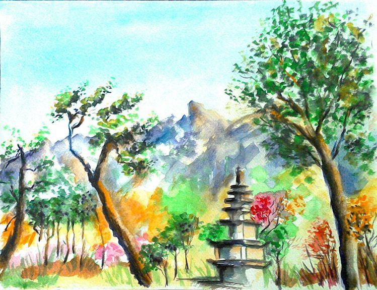 Korea, Aquarellmalerei, Rot, Natur, Berge, Blau