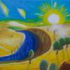 Sonne, Fluss, Wolken, Malerei