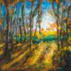 Wald, Lichtung, Blätter, Malerei