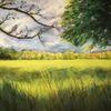 Sonne, Lichtung, Wald, Malerei