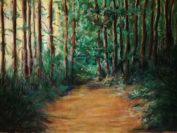 Licht, Weg, Wald, Malerei, Pastelle