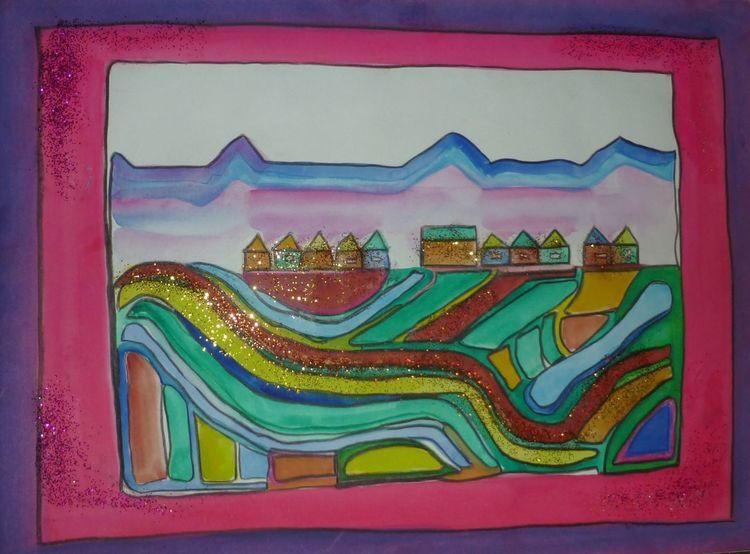 Landschaft, Stadt, Aquarellmalerei, Aquarell, Heimat