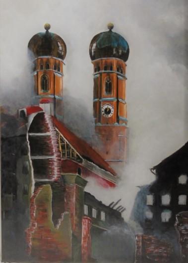 München, Gemälde, Feuerwehr, Acrylmalerei, Wandbild, Wunschbild