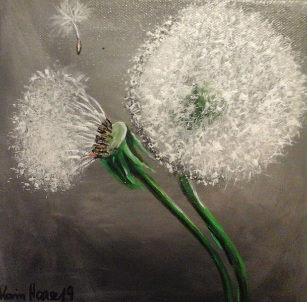 Gemälde, Weiße blüten, Wandbild, Malen, Acrylmalerei, Pusteblumen