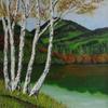 Baum, Gras, Gemälde, Sommer