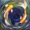 Malerei, Acrylmalerei, Teich, Orange