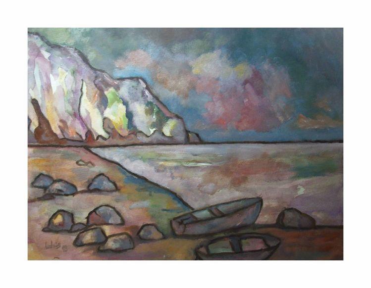 Malerei, Meer, Boot, Landschaft, Aquarell, Küste