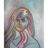 Frau, Einsamkeit, Allein und, Malerei