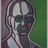 Mann, Grün, Abstrakt, Malerei