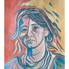 Acrylmalerei, Blau, Frau, Malerei