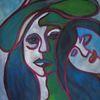 Frau, Blick, Hut, Zweisamkeit