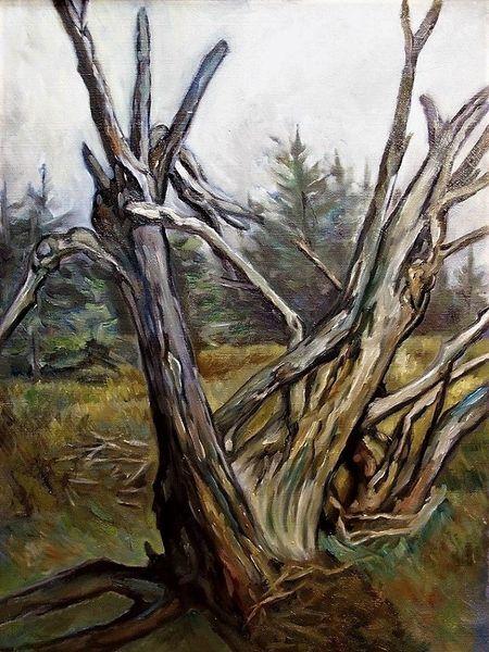 Malerei, Landschaft, Baum, Tod
