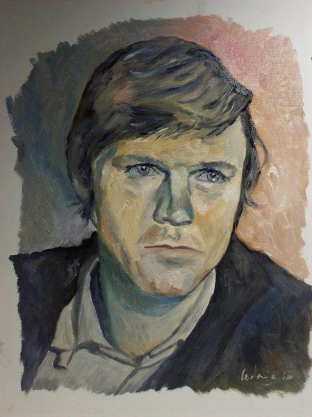 Malerei, Jung, Mann, Portrait