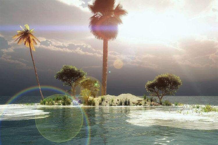 Baum, See, Natur, Küste, Digitale kunst, Island