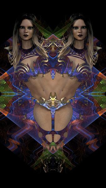 Frau, Abstrakt, Farben, Digitale kunst
