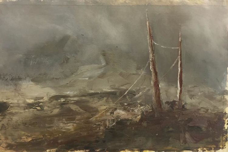 Öl auf papier, Düster, Ölmalerei, Farben, Abstrakt, Landschaft malerei