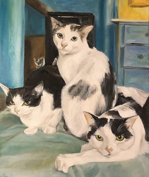 Tiere, Malerei, Katze, Ölmalerei, Familie