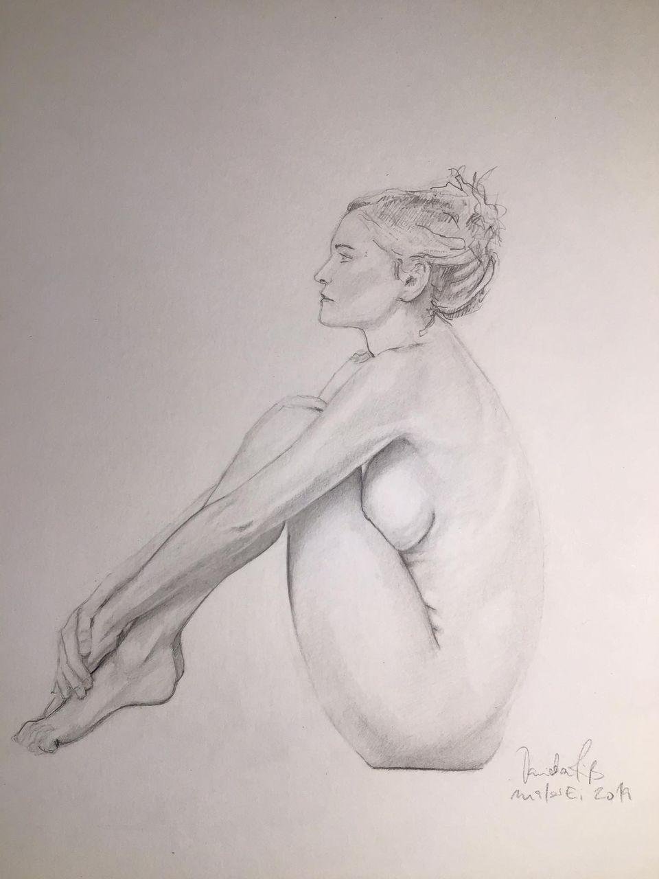 Warten Akt Frau Zeichnen Pose Von Daniela Riss Bei Kunstnet
