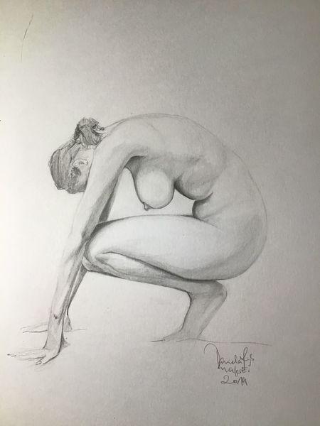 Pose, Frau, Akt, Bleistiftzeichnung, Zeichnungen, Haltung
