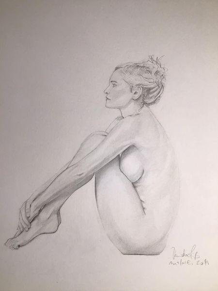 Akt, Frau, Zeichnen, Pose, Zeichnungen, Warten