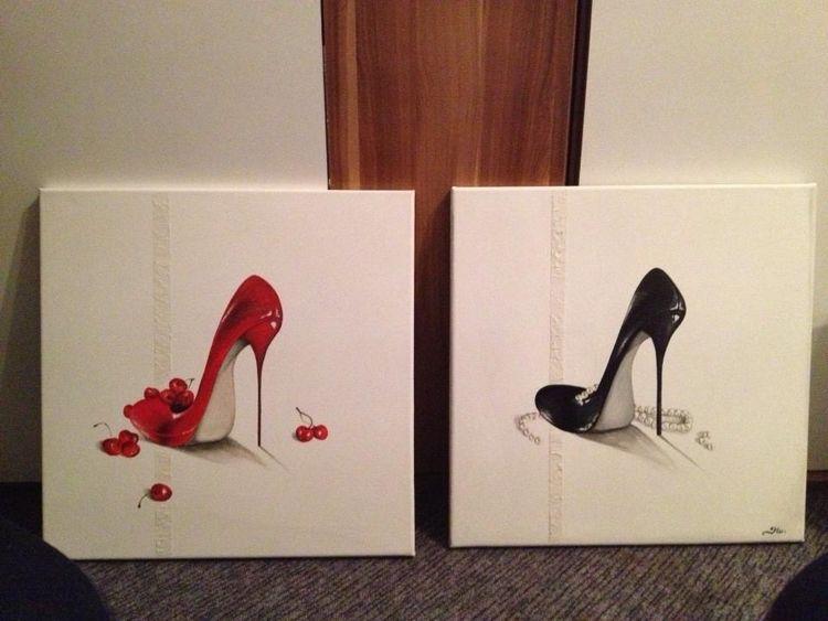 Schuhe, Acrylmalerei, Strukturpaste, Malerei