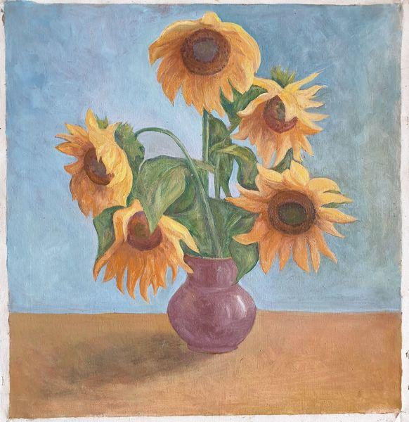 Malerei, Sonnenblümen, Design, Gelb, Stillleben, Blumen