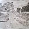 Bleistiftzeichnung, Freiheitstraum, Autobahn, Zeichnungen