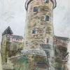 Steinpapier, Burg stahleck, Din a4, Mischtechnik