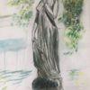 Julia aus verona, Statue in bingen, Din a3, Mischtechnik