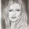 Bleistift kohle, Kate moss2, Din a4, Zeichnungen