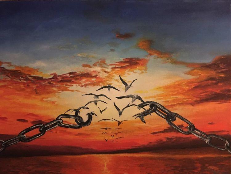 Gesellschaft, Blockade, Sonnenuntergang, Veränderung, Vogel, Malerei