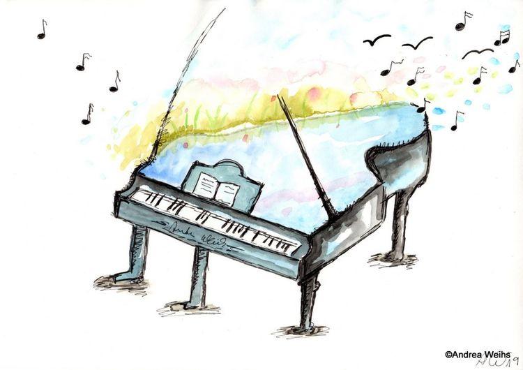 Hoffnung, Malerei klavier musik, Spirituell, Aquarell, Klavier