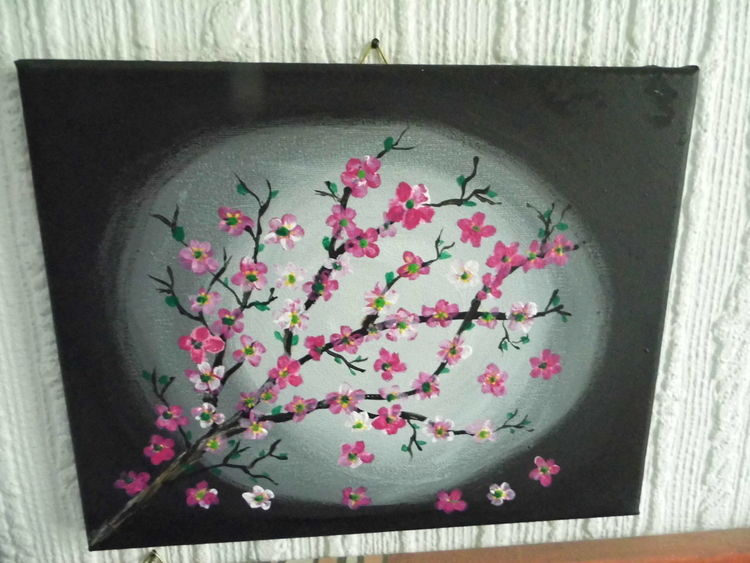 Stillleben, Kirschblüte, Dämmerung, Gedanken, Acrylmalerei, Malerei