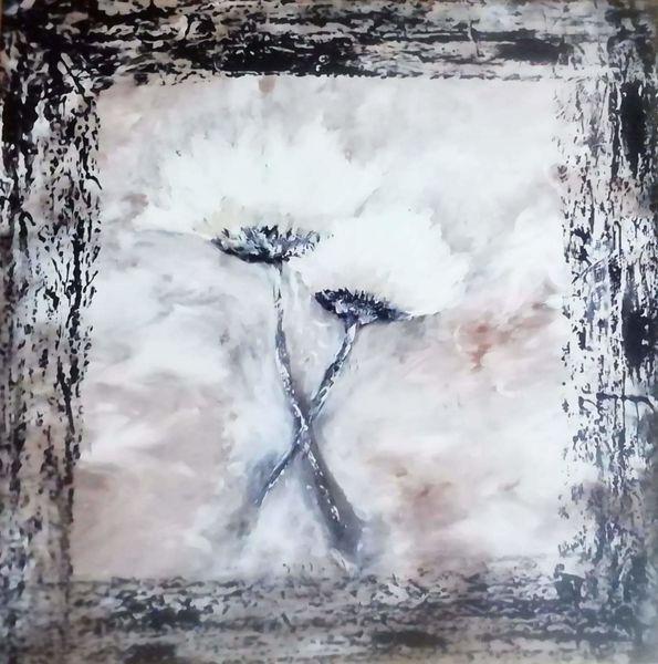 Rand schwarz, Malerei, Blumen, Abstrakt, Weiß, Acrylmalerei