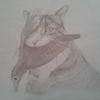 Bleistiftzeichnung, Katze, Vogel, Skurril