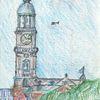 Kirche, Zeichnung, Stadt, Zeichnungen