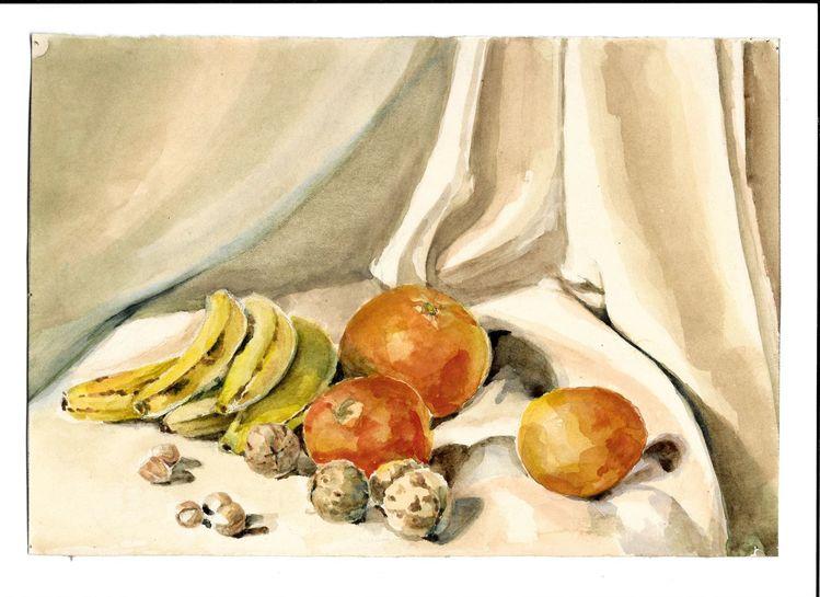Martha krug, Aquarellmalerei, Frühe siebziger jahre, Aquarell, Leben, Obst