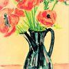 Schwarz, Vase, Mohnzeichnungreihe, Martha krug