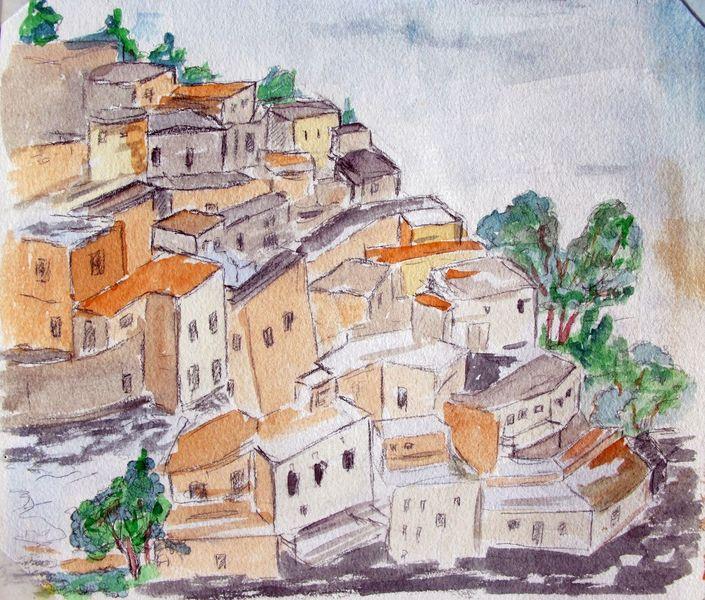 Landschaft, Oman, Gouachemalerei, Aquarell,