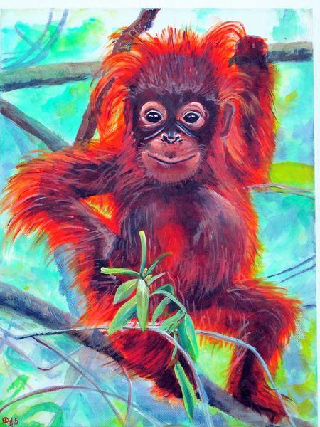 Tiere, Acrylmalerei, Orangutan, Malerei