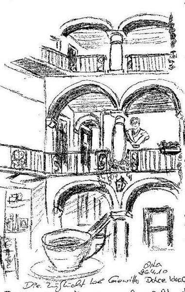 Bleistiftzeichnung, Innenhof, Italien, Zeichnungen