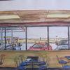 Architektur, American diner, Gouachemalerei, Aquarell
