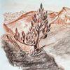 Landschaft, Kreide, Zeichnungen,